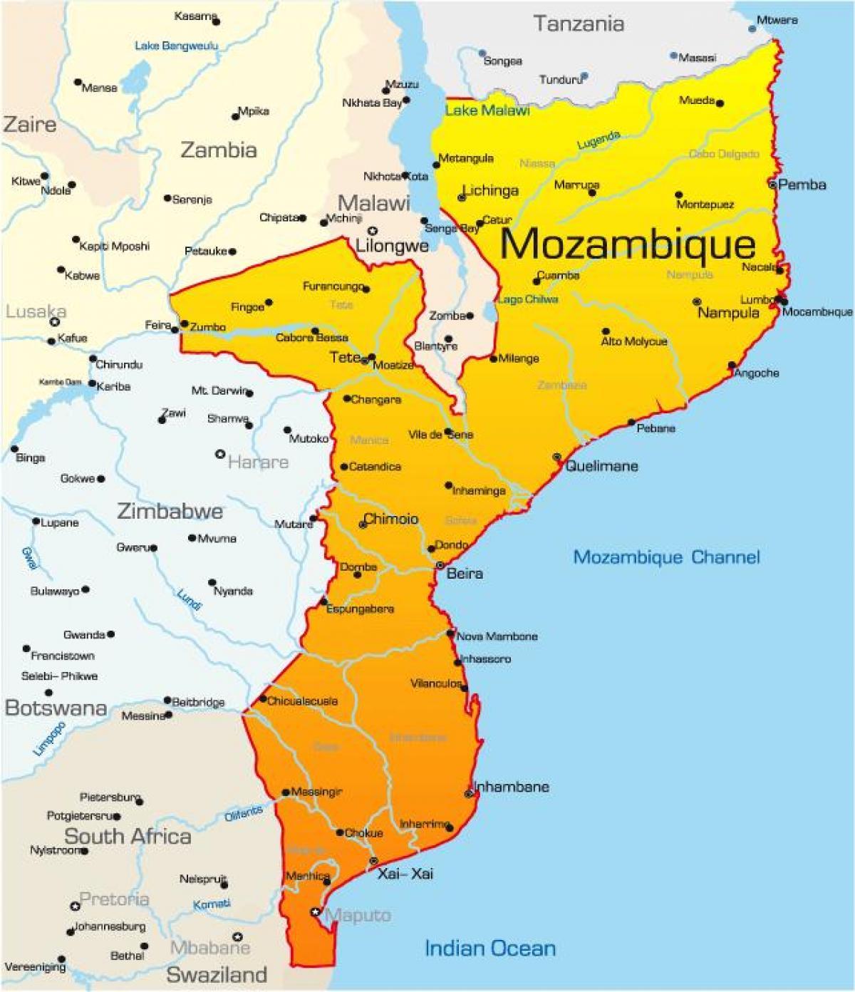 Karta Och Avstand.Mocambique Karta Med Avstand Karta Over Mocambique Karta Med